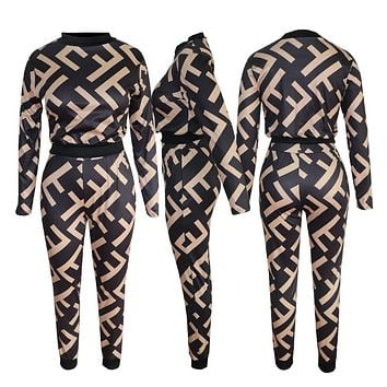 Fendi Women Fashion New Colorful More Letter Print Long Sleeve Top And Pants Sports Leisure Two Piece Suit