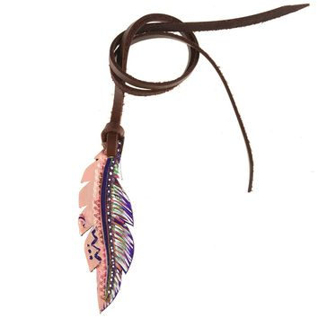 Rafter T Ranch Small Leather Feather Saddle Charm