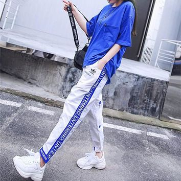 """Adidas"" Women Casual Personality Loose Short Sleeve Multicolor Letter Webbing Leisure Pants Trousers Set Two-Piece Sportswear"