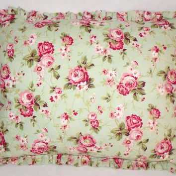 "Mint Green Quilted Floral Pillow with Pink Roses and Ruffles 16 x 20"" Oblong Rectangle Cover and Insert Ready to Ship OOAK"