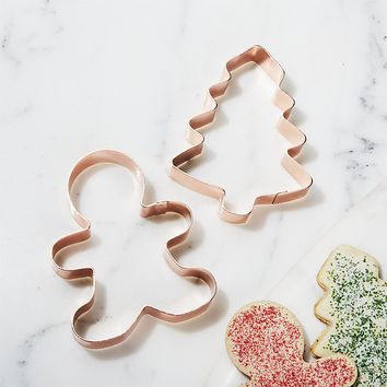 Copper Gingerbread Man and Tree Cookie Cutters