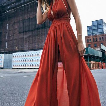 Date Red Sashes Cross Back Backless Double Slit Deep V Maxi Dress