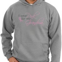 Breast Cancer Awareness Hoodie Sweatshirt Ribbon I Wear Pink For My Grandma Adult Athletic Heather