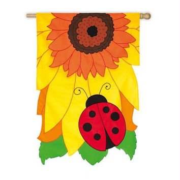Outdoor Estate Flag - Yellow Sunflower And Ladybug