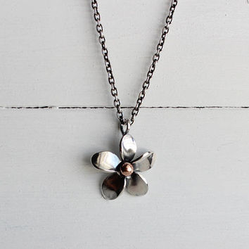 Sterling silver Plumeria pendant, handmade, hawaiian jewelry, original design by Hapa Girls, Beach jewelry, Frangipani
