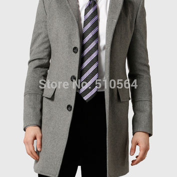 Custom made Slim fit men light grey high quality pure cashmere Coat casual men jacket