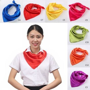 Fashion 60x60cm Women Silk Square Scarf Small Plain Neckerchief Head Neck Headband Female Multipurpose Solid Square Scarves