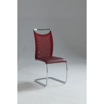 Chintaly Nadine Meshed Back Cantilever Side Chair In Red