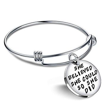 lauhonmin Inspirational Bracelets for Women Graduation Gifts Expandable Bangle  She Believed She Could So She Did