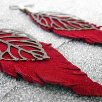 Long, Leaf Earring, Red Leather Earrings, Womens Jewelry, Bronze Feather, Leather Jewelry, Bronze Leaf, Charm, Bohemian, Hippie, Hipster