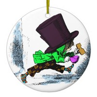 Mad Hatter Alice in Wonderland Christmas Ornament