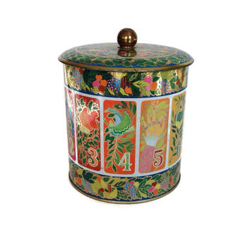 Vintage Tin Box-Hallmark-England-Round Tin Box-Candy Tin-Home Decor-Flowers & Numbers-Birds-Storage-Metal Box-Vintage Tin-Folk Art-Bohemian