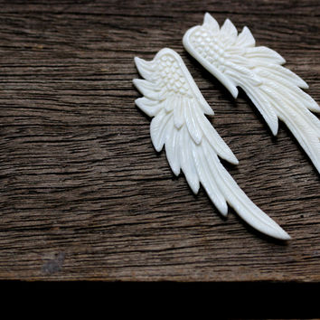 Double Sided Carved Angel Wings - Unique Punk, Gothic, Boho Jewelry Focal, Charm, Hand Carved Bone Heavenly, Divine, Godess, Jewelry Setting