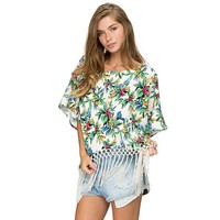 MapleClan Women's Batwing Sleeve Floral Chiffon Fringed Loose Shirt