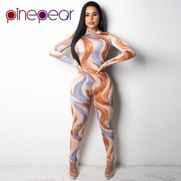 PinePear Oil Painting Print Jumpsuit 2019 New Winter Long Sleeve Turtleneck Bodycon Overalls for Women Fall Full Length Romper