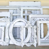 Set of 13 Shabby Chic Chippy White Picture Frames