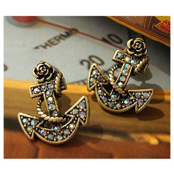 Vintage Inspired Rhinestone Anchor Earrings