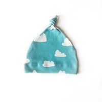 Organic Baby Knotted Beanie Tiffany Clouds