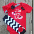 Little Love Bug Valentine Onesuit Outfit - Baby Girl - Ladybug - Red - Chevron - Leg Warmers - Headband