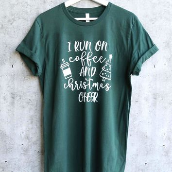 distracted - I Run On Coffee and Christmas Cheer unisex graphic tee - Forest Green