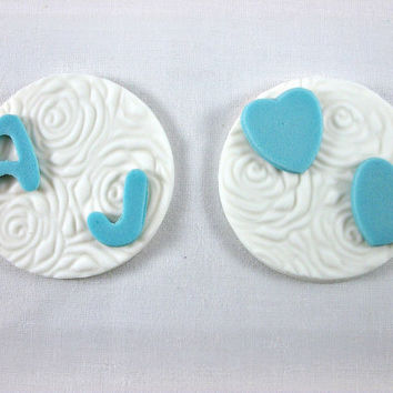 12 Cupcake/Cookie Wedding Fondant Toppers,Embossed Fondant Toppers,Initial/Hearts Cupcake Toppers,Engagement/Anniversary Cupcakes
