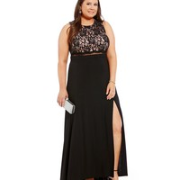Morgan & Co. Plus Lace Bodice Illusion Waist Gown | Dillards