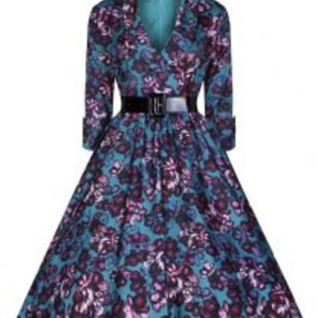 Noble Shawl Collar 3/4 Sleeve Purple Floral Print Dress For Women