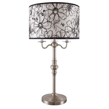 Metal Base Table Lamp With Floral Sketch Shade Copper