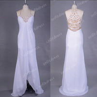white prom dresses, chiffon prom dresses, unique prom dresses, high low prom dress, evening dresses, BE0430