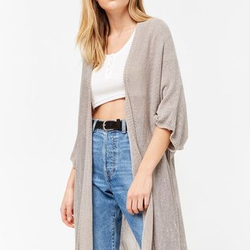 Frayed Open-Front Cardigan