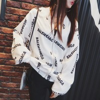 """Balenciaga"" Women Fashion Casual Logo Letter Print Loose Long Sleeve Zip Cardigan Baseball Clothes Coat"