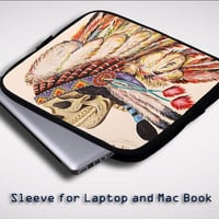 Indian feather skull Sleeve for Laptop, Macbook Pro, Macbook Air (Twin Sides)