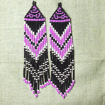 Native American  Beaded Earrings  Inspired. White Black  Pink Earrings. Dangle  Earrings.Long Earrings.  Beadwork.