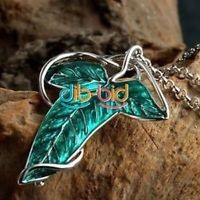 Lord of The Rings Green Leaf Elven Pin Brooch Pendant  Chain Necklace SS