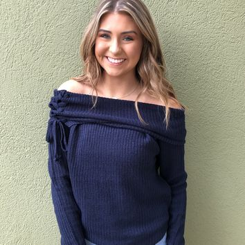 Sweater Weather Top- Navy