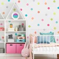 Dot Wall Decals, Candy Confetti Rainbow Polka Dot Decals, Nursery Wall Decals Eco Friendly Peel and Stick Fabric Dot Decals