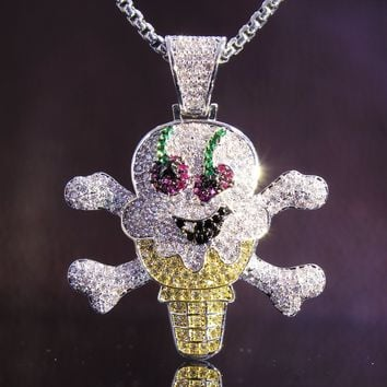 Men's Hip Hop Melted Ice Cream Skull Bones Pendant Chain