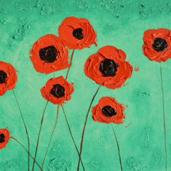 Coral and Sea Green Poppies Original Painting