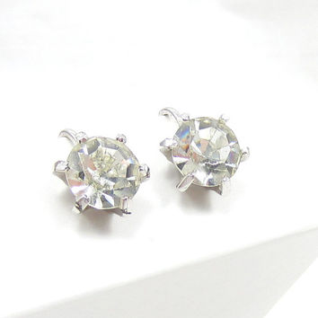 Coro EARRINGS-Designer Signed -Silver Tone Setting-Stud Design- Screw Back -Clear Diamond Rhinestones-Vintage Jewelry-Bridal Bridesmaid