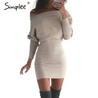 Simplee Chic off shoulder bodycon dress Women batwing sleeve short sexy dress Autumn winter slim party pencil dresses vestidos