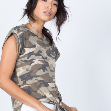 Tied in Camo Top