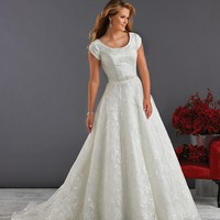 Bonny Love 6420 Modest Embroidered Wedding Dress