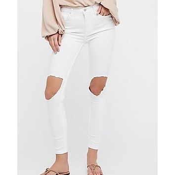 free people - busted knee high rise distressed skinny jeans - white