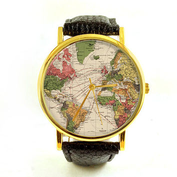 Vintage World Map Watch, Antique Map, Ladies Watch, Unisex, Cartography, Old Map, Vintage Inspired, Men's Watch, Analog, Gift Idea