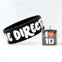 I Love Harry, Zayn, Liam, Niall and Louis (Square Combo) -- One Direction Glass Tile Pendant Necklac