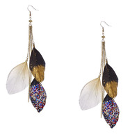 Gold Chain and Glittery Feather Drop Earrings