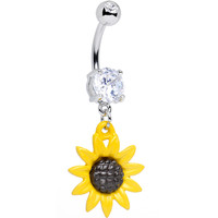 Clear CZ Cheerful Yellow Sunflower Dangle Belly Ring | Body Candy Body Jewelry