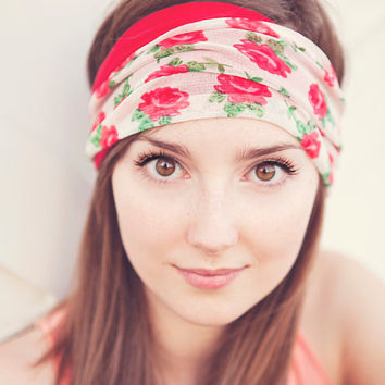 Rose Floral and Red Headband Reversible by BglorifiedBoutique