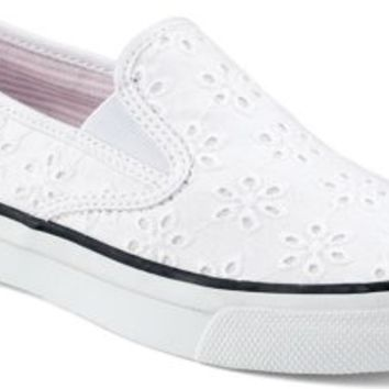 Sperry Top-Sider Mariner Double Gore Slip-On Sneaker WhiteEyeletCanvas, Size 5.5M  Women's Shoes