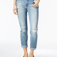 Maison Jules Ripped Light Blue Wash Boyfriend Jeans, Only at Macy's - Jeans - Women - Macy's